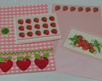Vintage Stationery Strawberry Collection  ~ Gingham Scented Fold a Note and Sampler Set
