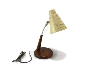 Vintage Lamp * Mid Century Modern * Wood and Fiberglass * Desk Lamp * Bed Side Lamp