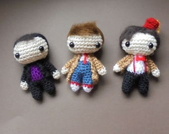 DOCTOR WHO - 9th 10th 11 doctor - whovian dolls - chibi miniature toys - Dr Who fandom - for geek/nerd - 3 options