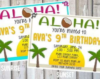ALOHA HAWAIIAN LUAU Birthday Party Invitation, Printable, Customized, Birthday Party Invite, Digital Print