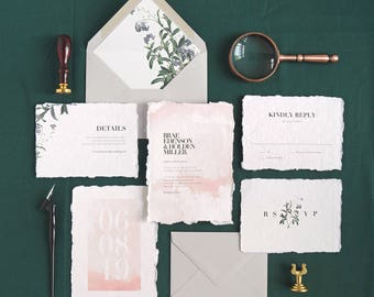 Brae Wedding Invitation & Correspondence Set / Watercolor and Foget Me Not Botanicals / Sample Set