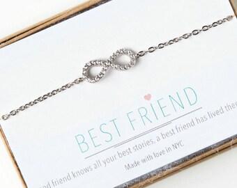 BFF Bracelets, Silver Infinity Bracelet, Best friend Bracelet, Best Friend Gift, Friendship Bracelets, Christmas Gift for Her, B163-S