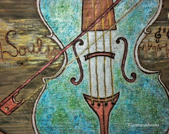 Violin Gifts, violin - cello painting on wood, pyrography, heartbeat, music notes, gold, turquoise green, violin art, music teacher gifts