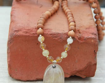 EXCLUSIVE Golden Rutilated Quartz Mala- One of a Kind -  Meditation Inspired Yoga Beads/ mala beads