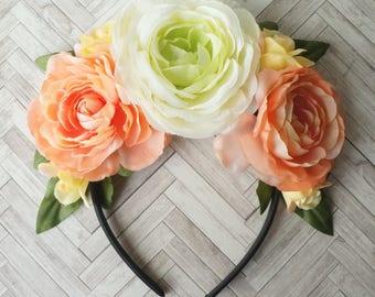 Frida Kahlo Head Band, Day of the Dead Headband, Dia de los Muertos Headband, Floral Headband, Wedding Headband, Flower Girl Headband, Pink