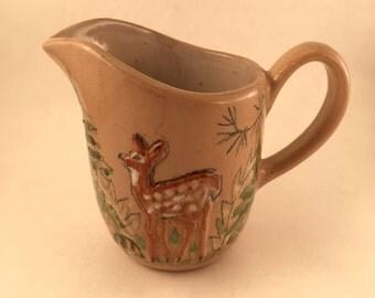 Vintage Pitcher Deer Fawn Milk Cream Bethel Pottery
