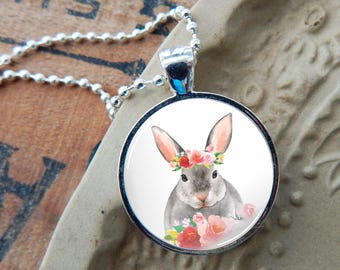 Bunny Pendant, Gray Bunny Glass Necklace, Bunny and Flowers Pendant, Watercolor Bunny Pendant, Boho Rabbit Pendant