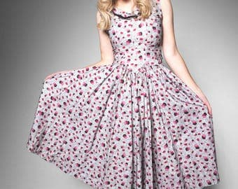 1950's novelty print party dress