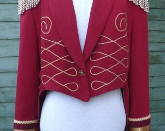 Womens size UK 18, US14  Upcycled Red Ringmaster tailcoat jacket  /circus / steampunk / festival