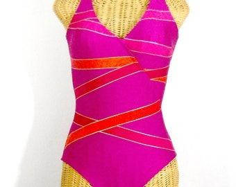 Vintage Diagonal Wrap HOT Pink Swimsuit // Size S
