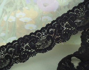 3yds Black Elastic Lace Trim Ribbon Lace 1 1/4 inch DIY Headband lingerie Elastic Trim Bra Making sewing projects Lace by the yard