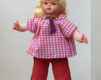 "Dollhouse Miniature Little Girl Doll 1"" Scale  (JL)"