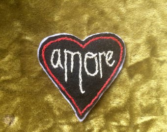 Amore hand embroidered patch