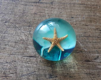 Vintage Lucite Starfish Bubble Paperweight