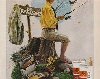1976 Advertisement Raleigh Cigarettes Retro Vintage Wall Art Decor Fishing Saturday Evening Post Man Cave Gift for Him Tobaccoana