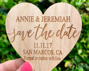 Save-the-Date Magnet, Hearts Wedding Save the Date Magnet, Modern Save the Date Wooden Magnet, Rustic Save the Date Rustic Wedding Invite