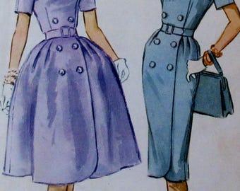 Vintage McCalls 1960  Misses  Dress with Slim or Full Skirt 5687  Size 14  Bust 34