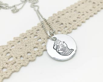 Mermaid necklace Hand Stamped, Different Mermaid necklace, Mermaid jewellery, Beach jewelry, Mermaid Pendant, Cute Mermaid