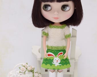 Cute short sleeved jumper and reversible matching skirt for Blythe