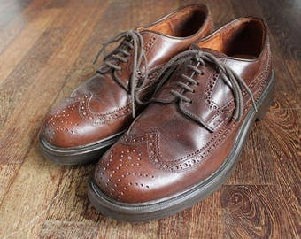 1950 Rare Vintage Leather Brown Brogue Shoes for Men / EU size: 42 / US size 8.5 / UK 8