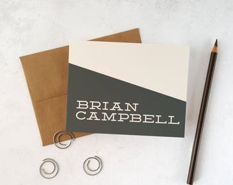 Boys Stationery | Mens Personalized Stationary | Note Cards with Envelopes | SLANTED SLAB | Custom Notecards with Kraft Envelopes