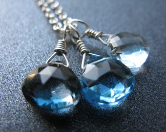 Swiss Blue Topaz Necklace, Blue Topaz Necklace, Sky Blue, London Blue Topaz, Sterling Silver, December Birthstone Necklace - Glacial Waters
