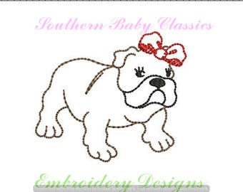 Bulldog Girl Bow Vintage Bean Quick Stitch Line Work Design File for Embroidery Machine Instant Download Girl Hand Stitched Look