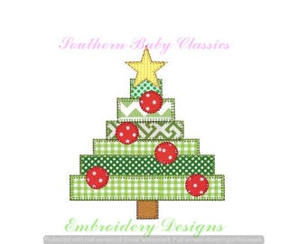 Christmas Tree Scrappy Blanket Applique Blanket Stitch Trees Pine Design File for Embroidery Machine Instant Download