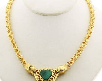 Jackie Kennedy Malachite Gemstone Necklace with Box and Certificate