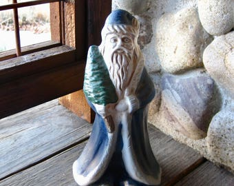 Vintage Pottery Santa with Tree and Toy Sack, 1993, Vintage Christmas, Cottage Chic, Country, Rustic
