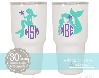 Mermaid Monogram for Yeti Rambler  | Yeti Tumbler Vinyl Decal | Vinyl Monogram | Mermaid Sticker | Yeti 20oz & 30oz  | Yeti Sticker RTIC