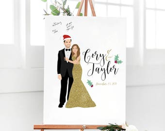 Christmas Wedding Guest Book Alternative, Portrait Guest Book for Christmas Wedding, Christmas Guestbook, Holiday Wedding Guestbook