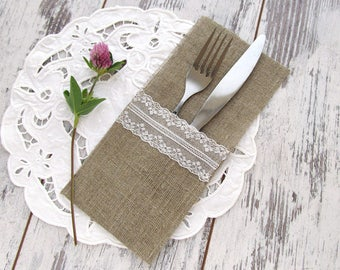 Burlap silverware holder, Cutlery holder, Rustic table decor, Flatware holder, Lace silverware holder