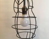 Custom Owl Light Fixture, steel cage light, pendant lighting