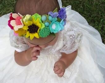 Rainbow Flower Crown - felt flower crown - wildflower crown