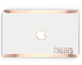 Cheers Stikē - Embossed Rose Gold Letters Decal and Monogram - Touch of Personality and glamour for your Macbook -  Platinum Edition - Stike