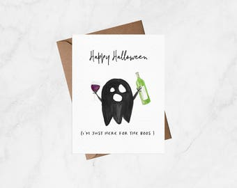 Happy Halloween - I'm Just Here For The Boos - Halloween Card, Greeting Card, Funny Card, Blank Card