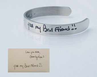 Handwriting Jewelry - Handwriting Bracelet - Stainless Steel Cuff - Engraved Handwriting - Memorial Gift - Personalized - Actual Handwriting