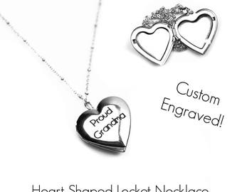 Custom Engraved Heart Locket Necklace - New Mom Gift - Grandmother Necklace - Photo Locket - Personalized Jewelry - Gift for Her -