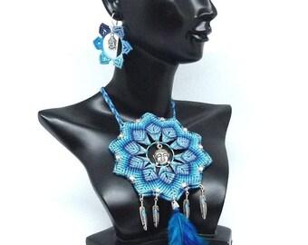 Rainbow Moonstone Necklace - blue Mandala - Art c 0197