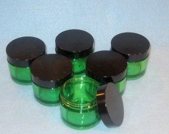 Supplies -Green PET Plastic Jars with Black Lids- 50 ml.