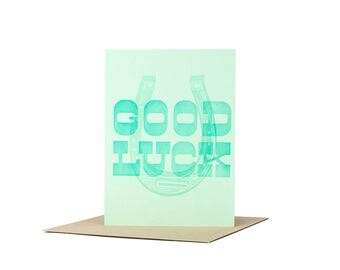 Good Luck Greeting Card Letterpress Printed in Green Ink on Green Paper Featuring a Horseshoe with Kraft Brown Envelope Printed in Cleveland