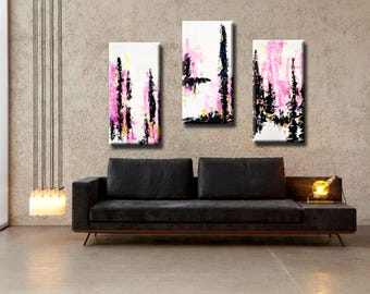 "72x48"" Set of 3 Original Abstract Acrylic Painting Pink Gold White Black Extra Large Triptych modern art Wall Art Wall Hanging AUL878889"