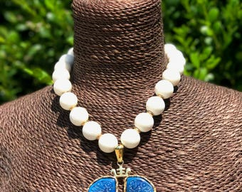"""Vintage Signed """"Castlecliff"""" Asian Faux Lapis Pendant with White Coral Beads Necklace"""