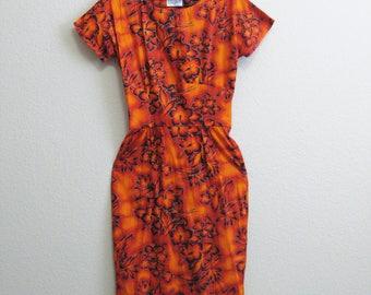 Orange Hawaiian Wiggle Dress Medium Short Sleeve