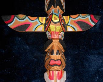 Vintage Pacific Northwest RAVEN TOTEM POLE*Hand Carved and Painted*12 Inches Tall