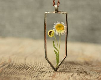 chamomile necklace, glass nature jewelry, glass necklace, tin and glass jewelry, pressed flower pendant, boho gift, terrarium pendant
