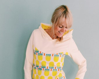 Hoodie ice with style in cream yellow pool