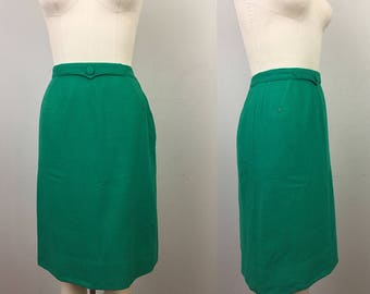 Vintage 50s Green WOOL Pencil Skirt Bobbie Brooks S