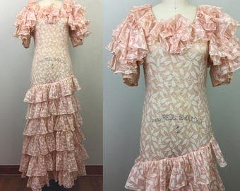 Vintage 30s Ruffled Dress Novelty Print Voile RARE 1930s
